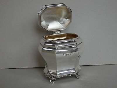 EARLY 20th c SOLID STERLING SILVER TEA CADDY - SHEFFIELD 1910 - 141g