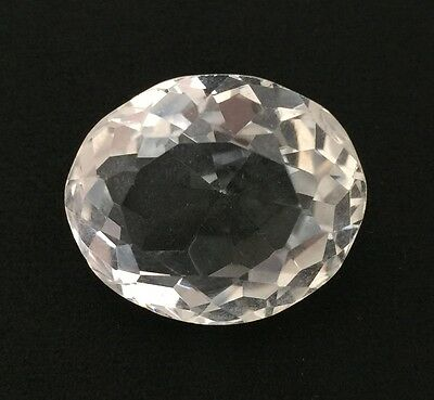 24.72Ct Natural Crystal Quartz Oval Cut White Colorless Loose 16.9X20.2 Gemstone