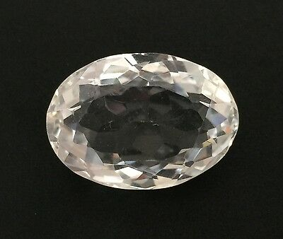 40.91 Ct Natural Crystal Quartz Oval Cut White Colorless Loose 19X27Mm Gemstone