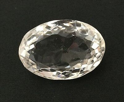 33.57Ct Natural Crystal Quartz Oval Cut White Colorless Loose Gemstone 17.7X25.7