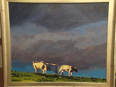 "North Wales oil painting ""spring lambs""on hill"