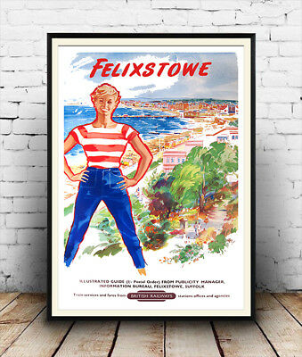 Felixstowe : Vintage Railway advertising , Wall art , poster, Reproduction.