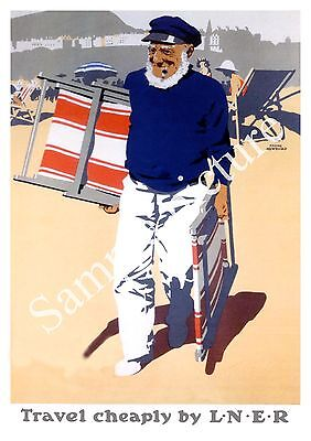 Travel Cheaply : Vintage Rail Travel advert , Wall art , poster, Reproduction.