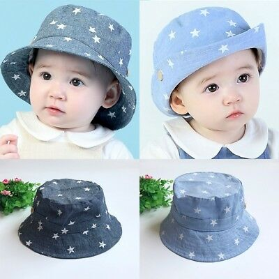 AU Infant Baby Girls Boys Kids Toddler Summer Outdoor Cap Sun Beach Denim Hat