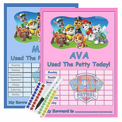 Paw Patrol Personalised POTTY TRAINING reward Chart with FREE stickers & Pen