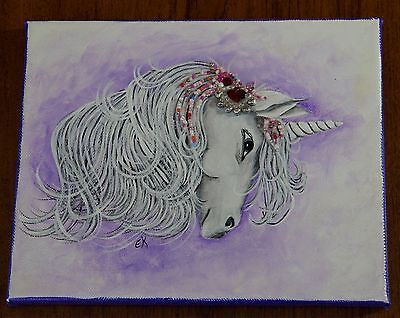 Folk Art Painting-Fantasy Unicorn-Beading-Canvas