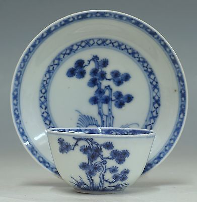 antique chinese 18th C blue and white Qianlong cup and saucer Nanking Cargo