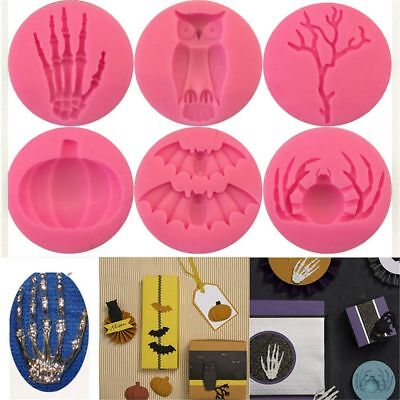 Mould Halloween Bat Spider Skull Hand Silicone Mold For Fondant Mold Baking DIY