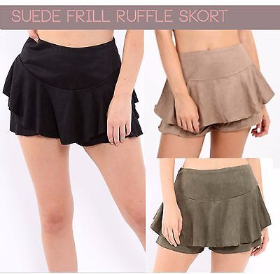 Ladies sexy High waisted suede Frill Skorts Ruffle layered tiered shorts mini