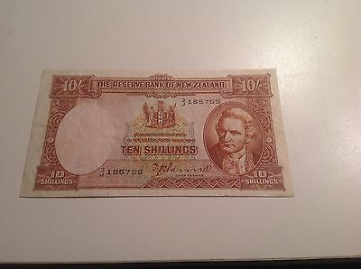 NEW ZEALAND 10 Shillings 1940 BANKNOTE