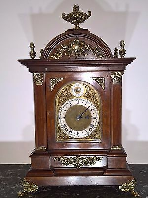 Stunning Burr walnut cased Bracket clock, Westmister chime with repeat feature.