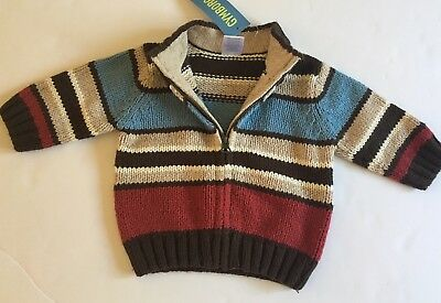 NWT Gymboree Boys Sweater Jacket Zip Holiday Express 3 6 Months $32 Blue Brown