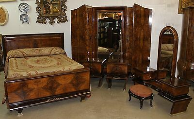 Antique Country French Burl Walnut Six Piece Bedroom Set Queen Bed Silver Inlay