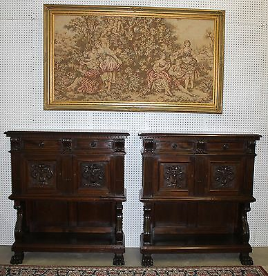Pair Antique French Walnut Hand Carved Credenza Buffets Claw Feet circa 1870's