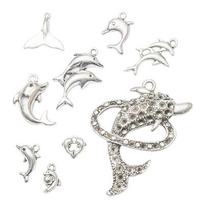 9pcs Assorted Antique Silver Dolphin Shape Pendants Charms for DIY Jewelry