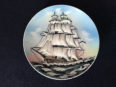 """Vintage Decorative Ship Nautical Scene 8"""" Plate Made In Japan"""