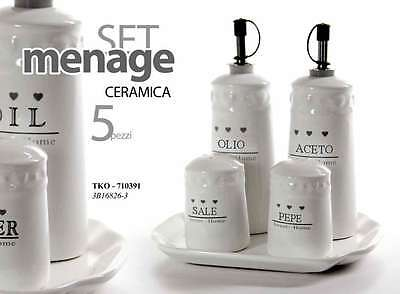 Set 5 Pezzi Menage H20 Olio Aceto Sale Pepe Ceramica Chic Sweet Home Tko 710391