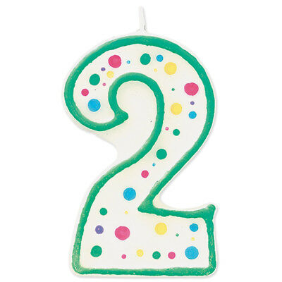 Wilton Green Polka Dots Number 2 Age Candle Children Birthday Party Decoration