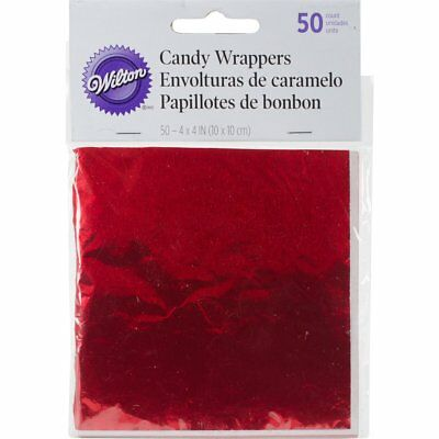 Wilton 50 Pk RED Shiny Foil Candy Lolli Pops Cakes Covering Decorating Wrappers