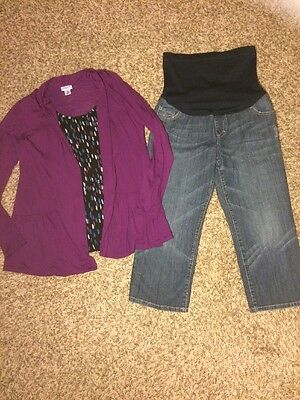 Maternity Outfit Jean Capris And Blouse Medium