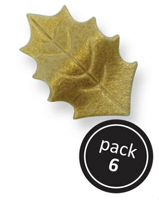 PME Cake Icing GOLD Variegated Holly Leaves Leaf Autumn Sugar Decorations 6 Pk