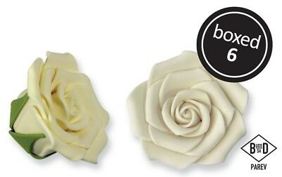 JEM Cake Icing Decorating Sugarcraft Ready Made Giant Sugar Rose Ivory 62mm 6Pk