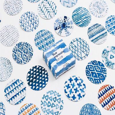 45 PCs/lot Stationery Diy Label Blue Impression Paper Sticker Scrapbooking