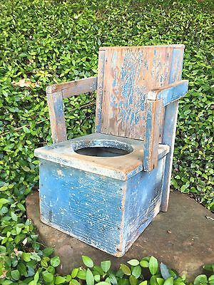 Primitive Antique Wooden Child's Potty Chair Orig Robin Blue Paint Cute Planter