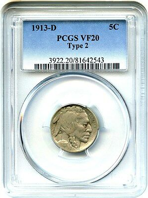 1913-D 5c PCGS VF20 (Type 2) Buffalo Nickel