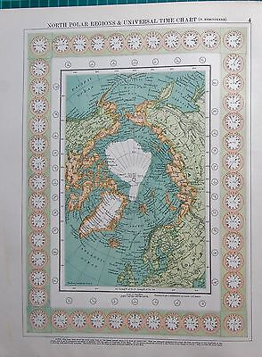 1901 Large Victorian  Map-North Polar Regions & Universal Time Chart