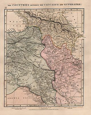 1828 Antique Arrowsmith Hand Coloured Map Countries Between The Caucasus And The