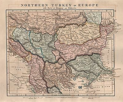 1828 Antique Arrowsmith Hand Coloured Map Northern Turkey In Europe Hungary Dalm