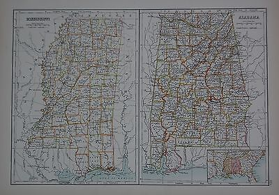 1897 U.s.states Large Map Mississippi Alabama