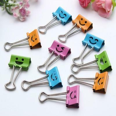 5pcs 25/19mm School Paper File Organizer Binder Clips Smile Face Metal