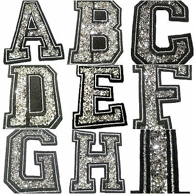 embroidered iron on sew on glitter strass letters number patches fancy dress DIY