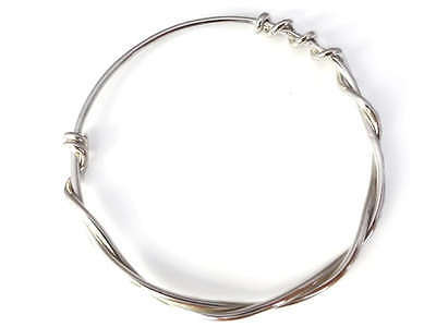 Solid 925 Sterling Silver Twisted Rope Bangle, Hallmarked, Gift-wrapped