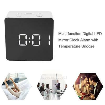 Multi-function Digital LED Display Mirror Table Alarm Clock w/Temperature Snooze