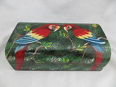 Colorful Parrots Birds Painted Wood Jewelry Treasure Box Hinged Lid Tropical