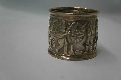 Antique Repousse Silver Napkin Ring Figural Story- 46 grams