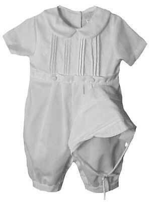 Petit Ami Boys Infant White Tucked Front Christening Romper and Hat NWT