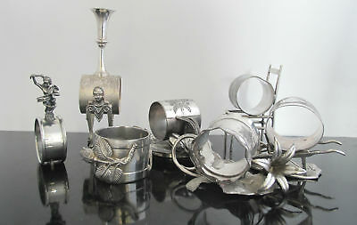 Antique VICTORIAN 7pc Set Silver Plate FINELY DETAILED Figural Napkin Rings