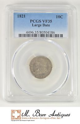 VF35 1821 Capped Bust Dime Large Date - Graded PCGS *SC01