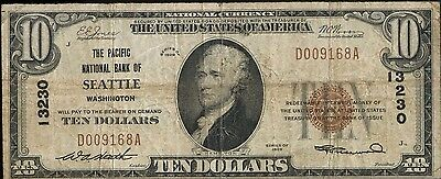 1929 $10 National Currency Note Pacific Bank Seattle WA 13230 Ten Dollars JZ072