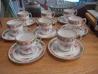 """Set of 8 COALPORT """"French Noble"""" Demitasse Cups & Saucers - Green & Pink Band"""