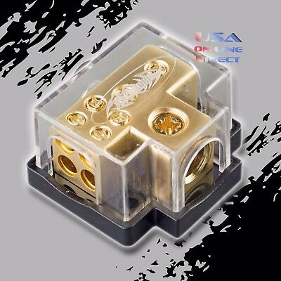 Gold Power Ground Distribution Block 0/2/4/8 Gauge In (4) 8Ga Out Marine Car Awg