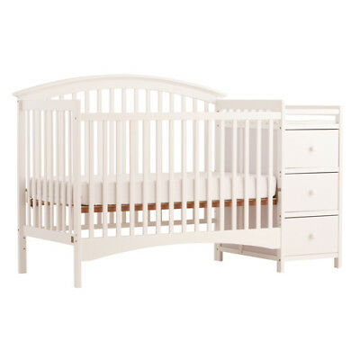 Bradford Stages 4-in-1 Fixed Side Crib with Changer, White - 04586-351
