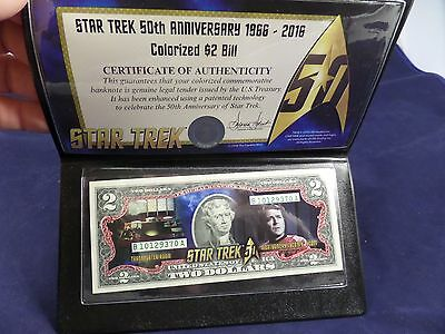 Star Trek Colorized 2 Dollar Bill - SCOTTY - with C.O.A. and Holder
