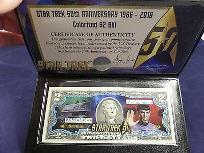 Star Trek Colorized 2 Dollar Bill SPOCK with C.O.A. and Holder