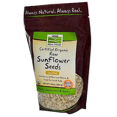 Now Foods Organic Raw Sunflower Seeds Unsalted 16 oz (454 g) BEST BY 06/2017