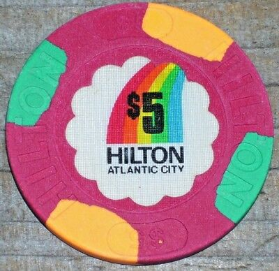 $5 1St Edtition Chip From The Original Atlantic City Hilton Casino(Never Opened)